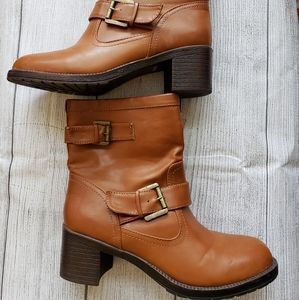 Brown booties by the brand BAMBOO